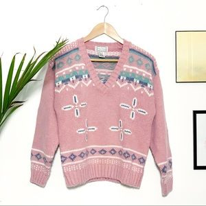 Vintage 90s Sweater Patterned Pastel Fuzzy Knit S
